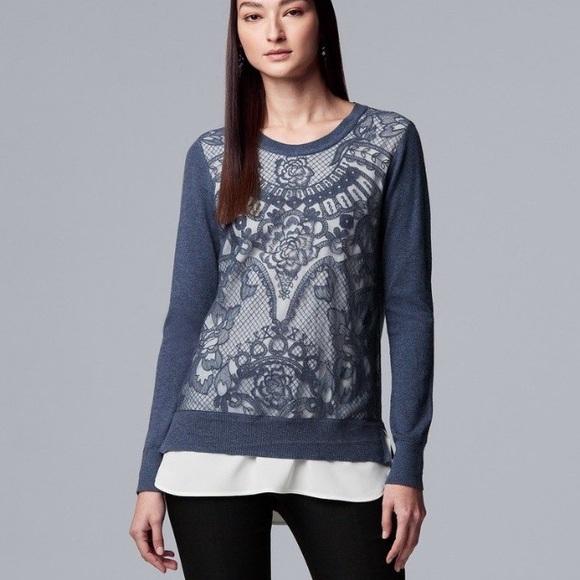 Simply Vera Vera Wang Sweaters - Simply Vera Wang Lace Mock-Layer Blue Sweater XS